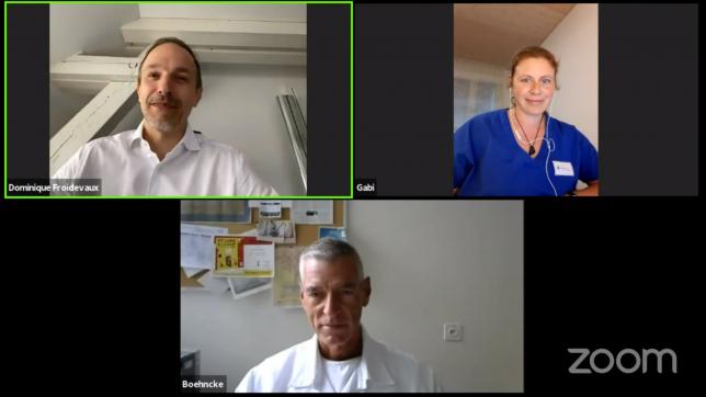 Abb. 3: Screenshot vom Meet Dr. Nuts Livestream vom 4. Juni 2020 mit M Sc Dominique Froidevaux, Dr. med. Gabriela Rohrer und Prof. Dr. med. Wolf-Henning Boehncke zum Thema Dermatologie.